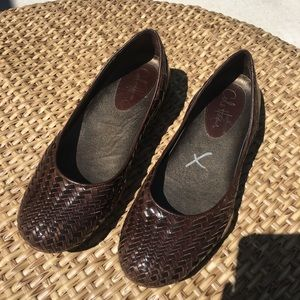 Womens Cole Haan Brown Leather Woven Loafers